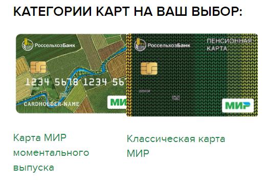Категории Пенсионной карты в РСХБ