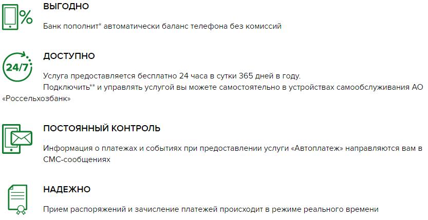 Услуга «Автоплатеж» от Россельхозбанка