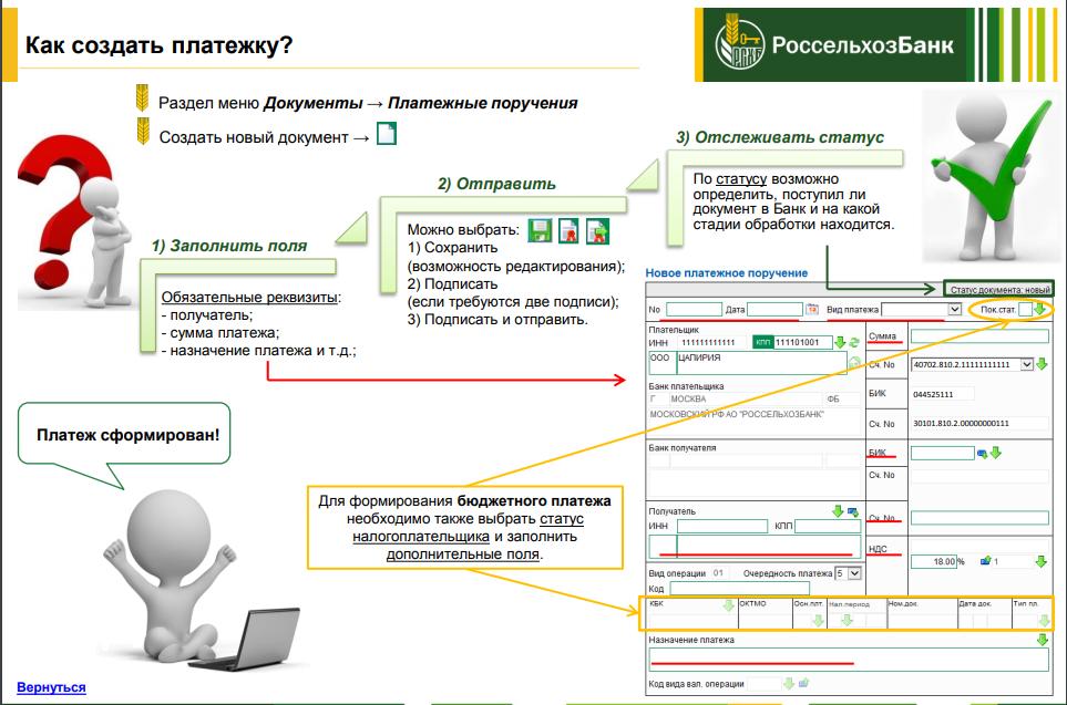 Как создать платежку в Интернет-клиенте Россельхозбанка