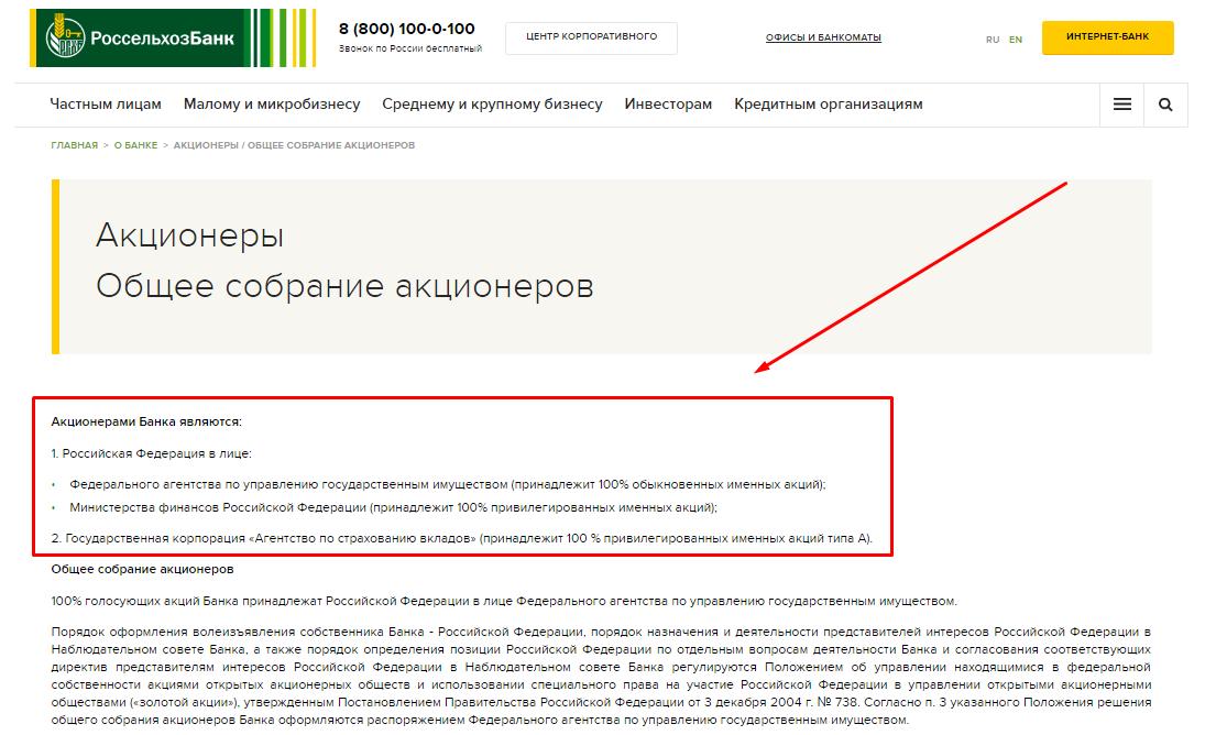 Акционеры Россельхозбанка