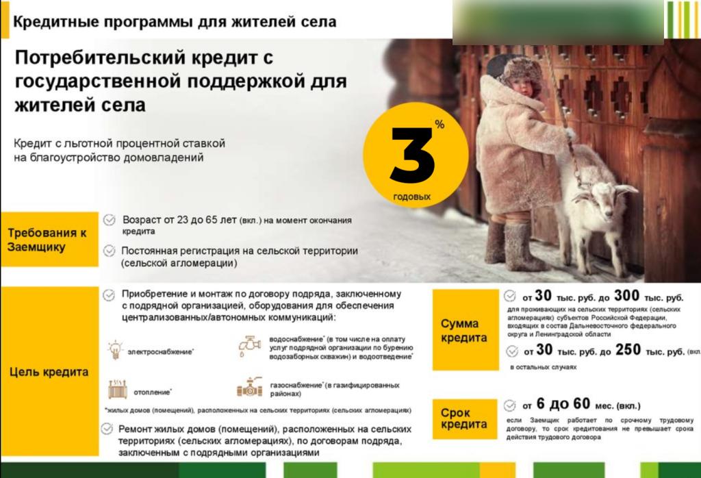 Потребительский кредит в Россельхозбанке для жителей села на благоустройство